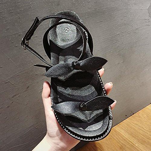 estilo mujer negro libre estudiante de Harajuku plataforma de planas femeninos zapatos SOHOEOS sandalias abierta de verano femenina zapatos ligero aire informal punta deportes romanos al nueva mujer gruesa pwzTqwg