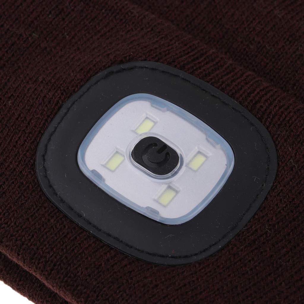 perfk Winter Strickm/ütze mit LED Beleuchtung Outdoor M/ütze f/ür Erwachsene oder Kinder