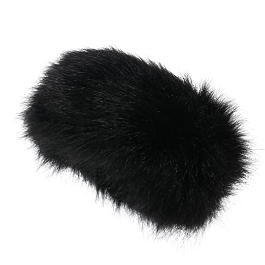 Faux Fur Headband Winter Earwarmer Earmuff for Women (Black) at ... 9c8df36a88b7