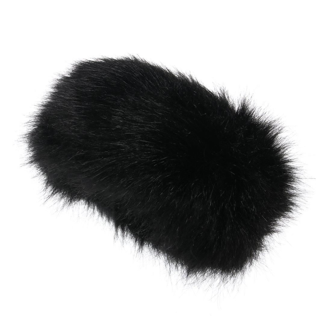 Faux Fur Headband Winter Earwarmer Earmuff for Women (Black)