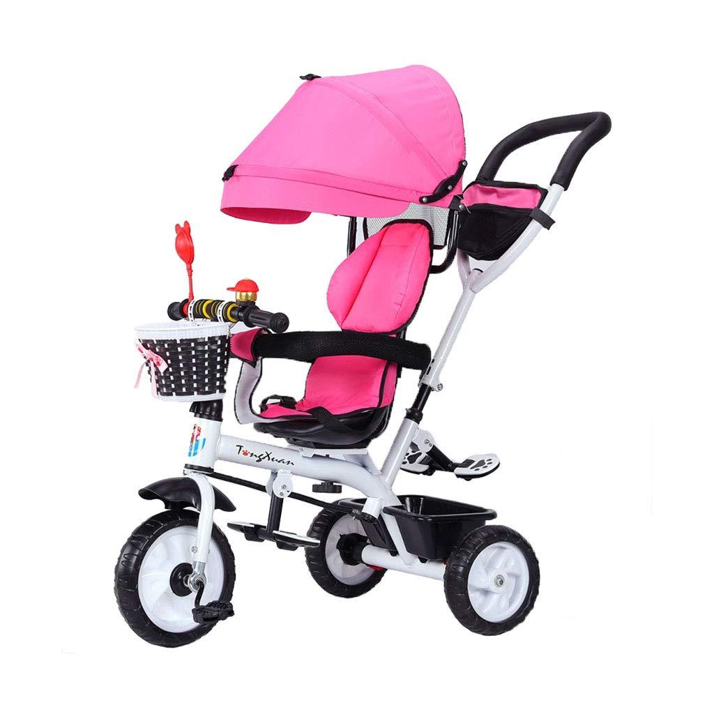 4 in 1 Baby Bike per 1-3-6 Anni Ragazzo e Ragazza Multifunzione Triciclo per Bambini rossoante Sedile 3 Ruote Carrozzina in plastica Ruote Bicicletta Oxford Panno per Tende - rosa