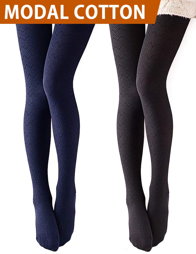 VERO MONTE 2 Pairs Opaque Black Tights Footed Tights for Women Leggings (BLACK)