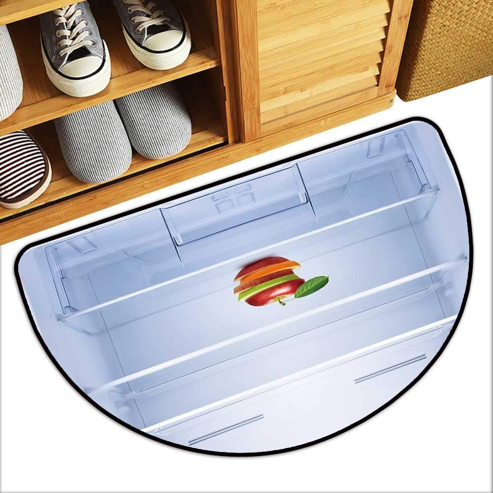 Semicircular Image Print Carpet eat Diet Concept applaes Orange Fruit in Empty Refrigerator Bedroom Door Mat W35xH23 INCH