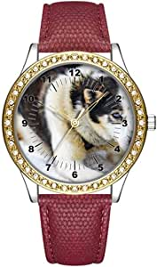 Diamond Womens Leather Watch,Fashion Casual Gold Watches for Women,Waterproof Ladies Brown Wrist Watch 057.Adult White and Black Siberian Husky(Brown)