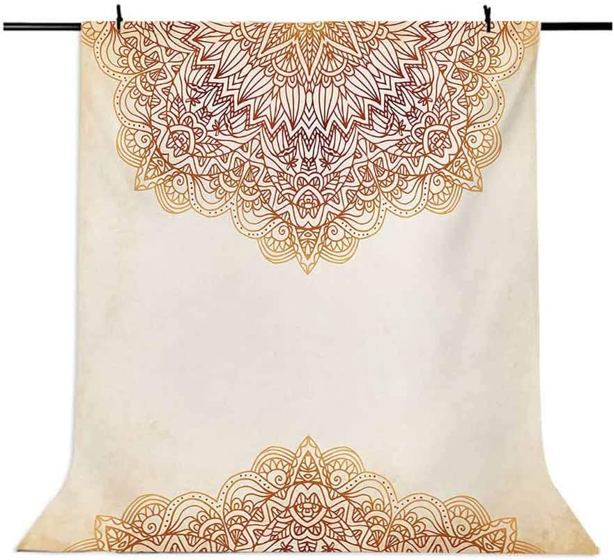 Artistic Oriental Vintage Ornate Pattern Henna Style Artwork Print Background for Party Home Decor Outdoorsy Theme Vinyl Shoot Props Beige Victorian 10x15 FT Photography Backdrop