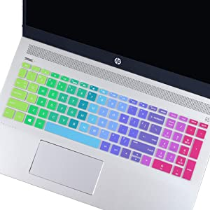 "FORITO Keyboard Cover Compatible with HP Envy x360 15.6"" Series /2019 2018 HP Pavilion 15 Series/HP Pavilion x360 15.6"" Series/HP Envy 17 Series/HP Laptop 15t 17t 17-ca0011nr 17-by0040nr -Rainbow"