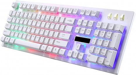 keyboard Blanco con Cable retroiluminado Teclado de ...