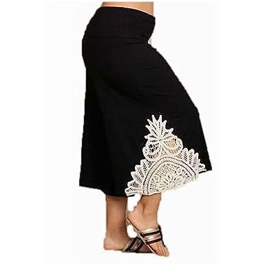 32ebb60d5a6b7 Pant Plus Gaucho High Waist 1X 2X 3X Crochet Black Capri Wide Leg Bohemian  Culottes (