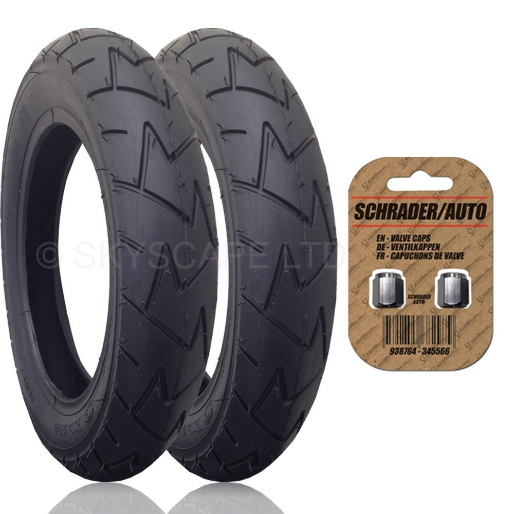2 x MICRALITE TORO Suitable Stroller / Push Chair / Buggy REAR Tires to fit - 12 1/2'' x 1.75 - 2 1/4 (57-203) (Black) + + FREE Upgraded Skyscape Metal Valve Caps (Worth $4.99)