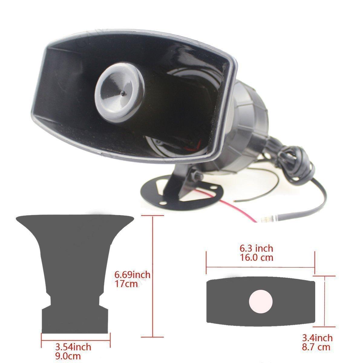 Durgence Son Amplificateur 12 V 80 W 7 Voiture Sir/ène Haut-Parleur Voiture Sir/ène Voiture Haut-Parleur avec Microphone PA Syst/ème Denceintes