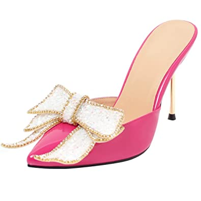 AIYOUMEI Damen High Heels Pantoletten mit Schleife Sommer Sandalen Slippers Damen Mules Hochzeitschuhe