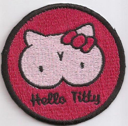 Hello Titty Hello Kitty 60s Rockerbilly Psychobilly Kutte Aufn/äher Patch