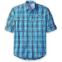 IZOD Men's Long Sleeve Surfcaster Plaid Fishing Shirt