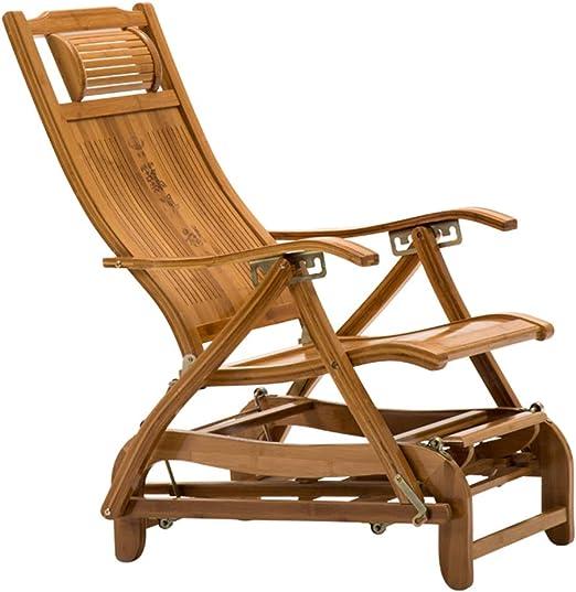 N / A Bamboo Rocking ChairSilla Plegable, Balancín Antiguo Portátil Ajustable con Respaldo de Bambú, Tumbona de Jardín/Balcón de Madera con Pedales Retráctiles: Amazon.es: Hogar
