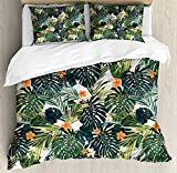 Ambesonne Hawaii Duvet Cover Set King Size, Colorful Palm Trees Tropical Plants with Botanical Inspirations, Decorative 3 Piece Bedding Set with 2 Pillow Shams, Fern Green Jade Green Orange