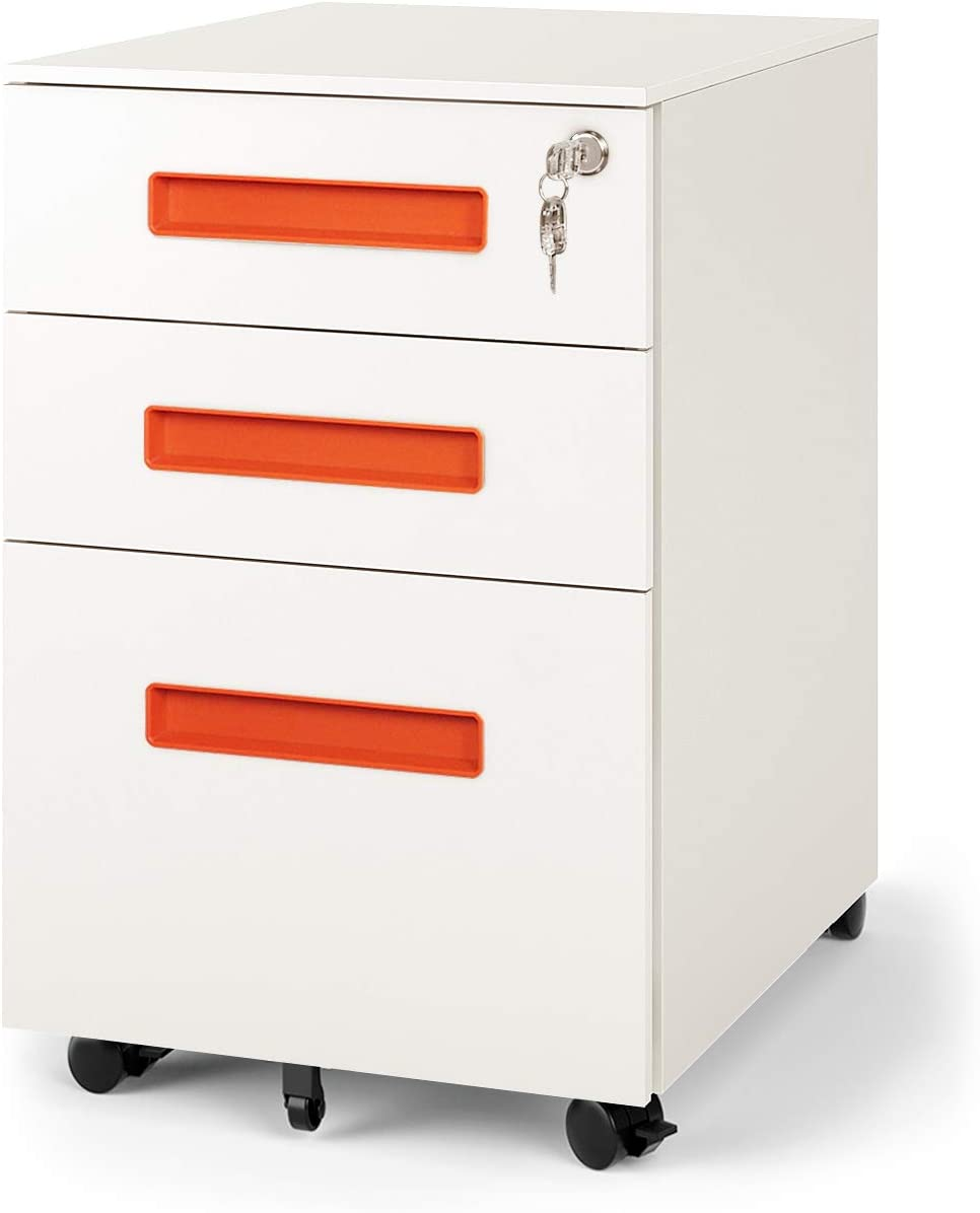 DEVAISE 32-Drawer Mobile Pedestal File Cabinet with Lock, Legal/Letter Size,  Orange