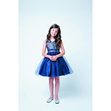 f5aab6bfd75517 Amazon.com  Sweet Kids Navy Sequin Tulle Special Occasion Dress ...