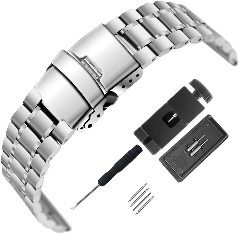 Mirror Surface Stainless Steel Watch Band 18mm 20mm 22mm 24mm Strap Metal Replacement Bracelet with Double-Button Safety Clasp for Men's Women's Watch Black Silver 22mm