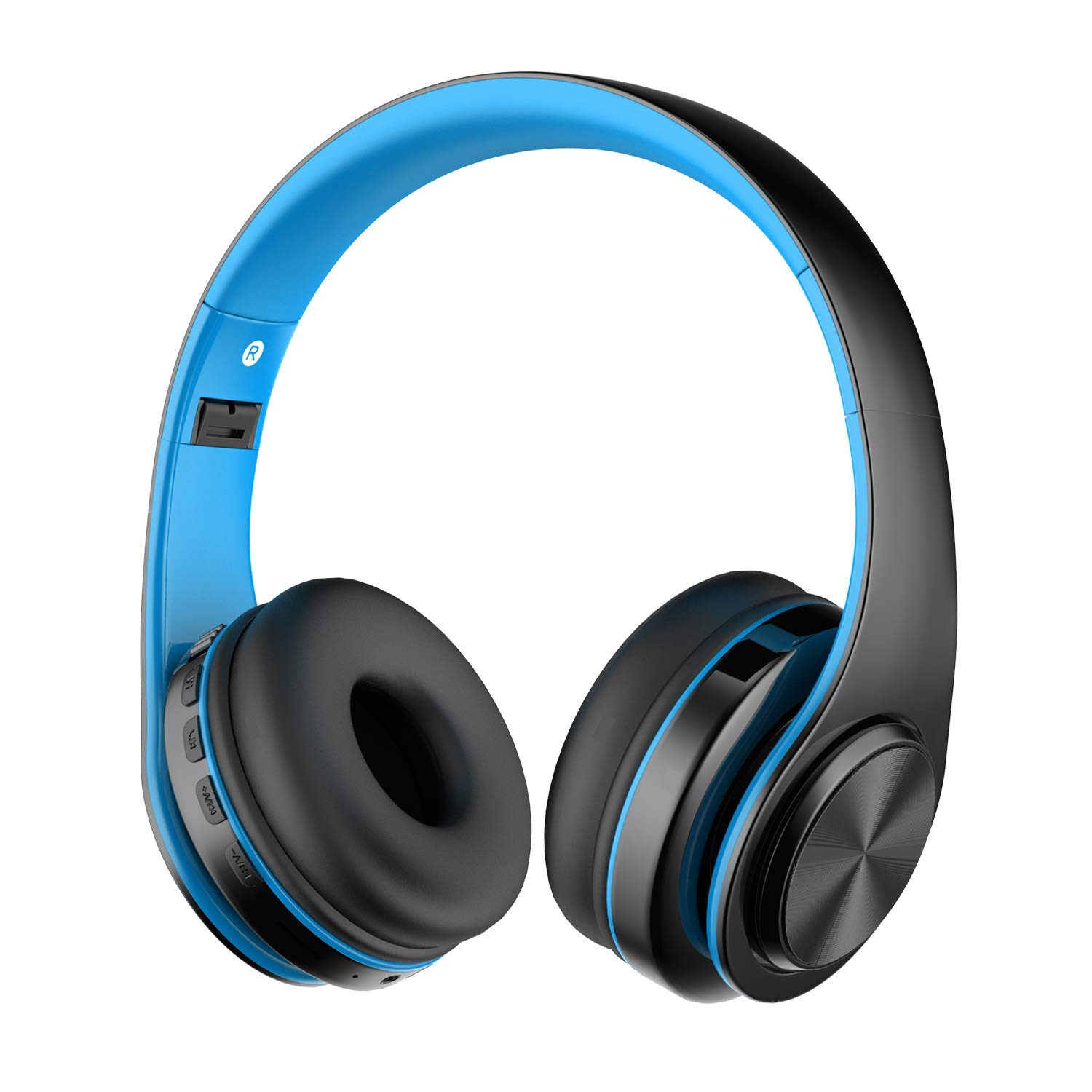 Alitoo Wireless Headphones,Bluetooth Foldable Headphones with Microphone,Over Ear Stereo Headsets Compatible with Smartphones,Tablets,PC, Laptops,Smart TV (Black&Blue)