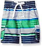 Kanu Surf Little Boys' Blake Stripe Quick Dry Beach Board Shorts Swim Trunk, Navy/Green, Small (4)