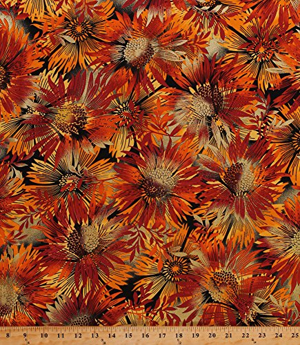 Cotton Flowers Coneflowers Echinacea Sunflowers Blossoms Blooms Autumn Fall Colors Gold Metallic Shimmer Glitter Sun Valley Sun Dance Rust Cotton Fabric Print by The Yard -