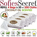 SofiesSecret XL PET WIPES, COCONUT SCENTED All In One Grooming REFILL 200 Count, for Paws, Coat, Skin, Face, Ears and Teeth 100% Natural & Organic Extracts Extra Thick Extra Large Cruelty Free & Vegan