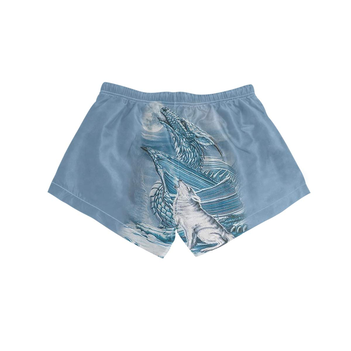 Womens Print Beach Shorts with Pockets Quick Dry Boardshort Swimming Trunks Tropical Short Dragon Wolf Moon