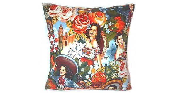 Funda para cojín manta funda de almohada 18 pulgadas Retro Vintage niñas mexicano Sombrero Nacional vestido flores jardín Catedral Iglesia Sweet ambos lados ...