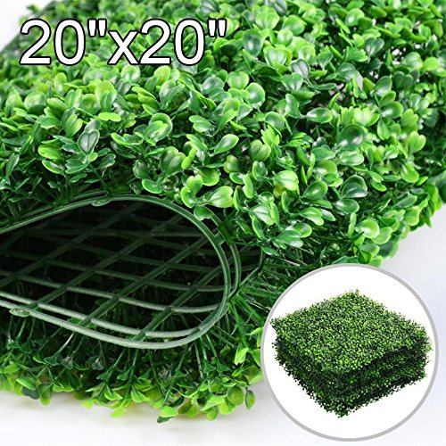 Yaheetech 6PCS 20 x 20 inch Artificial Boxwood Plants Wall Panel Hedge Greenery Garden Home Decorations Green