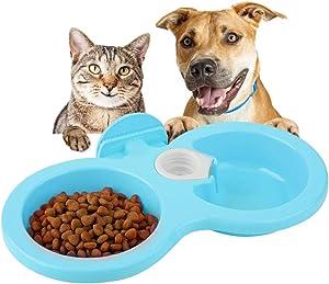 Dual Hanging Pet Bowl Pet Food Water Feeder Feeding Bowl Dog Cat Rabbit Bird Food Basin Dish with Bottle Cap Fastener Design for Crates Cages