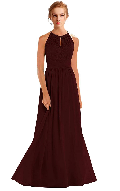 Dark Burgundy VaniaDress Women Halter Sleeveless Long Evening Dress Formal Gowns V266LF