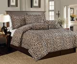 Legacy Decor 5 Pc Brown and Beige Leopard Print Faux Fur, Twin Size ...