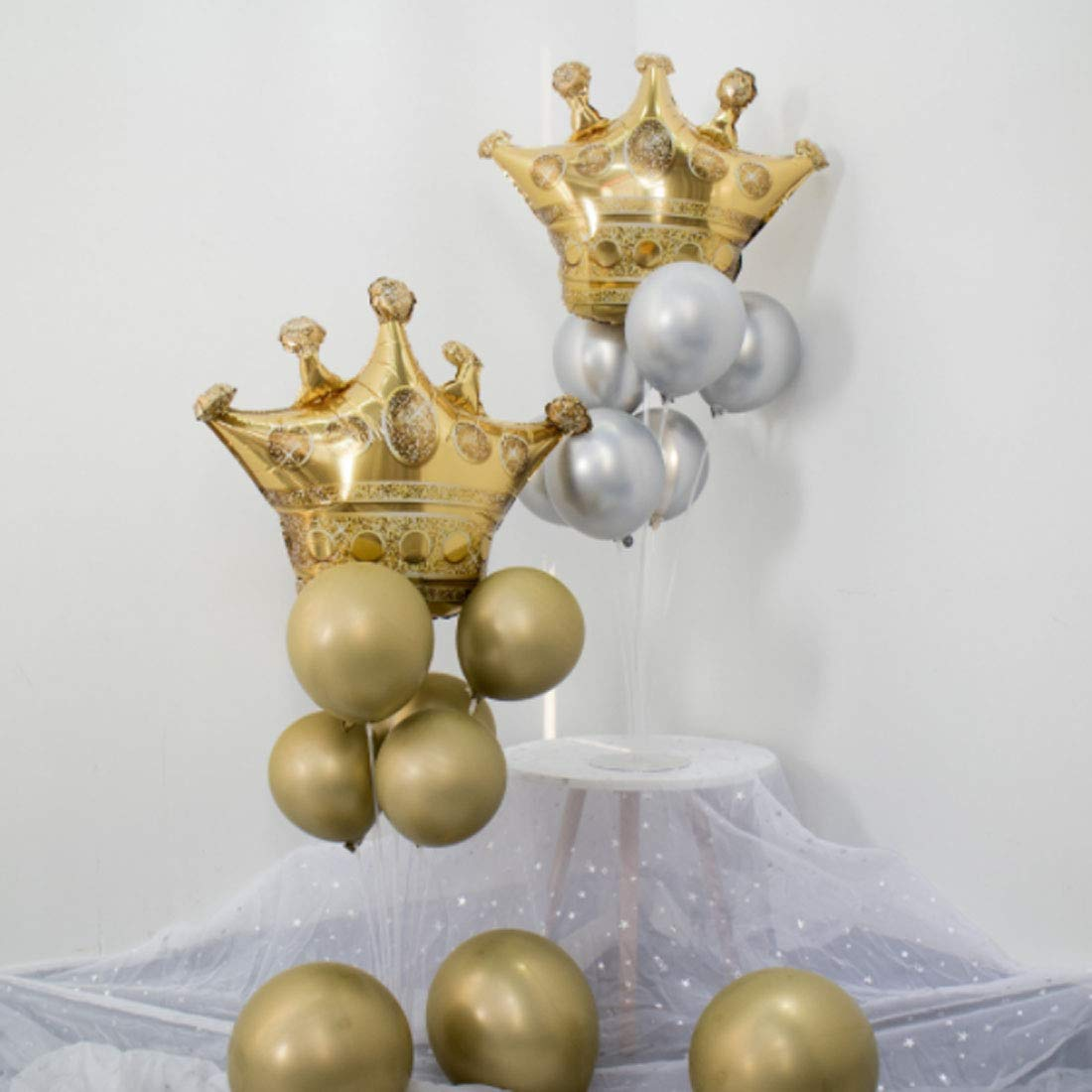 Foil Helium Balloons Fit for Birthday Wedding Party Decoration 31.1 x 25.6 inch 4 Pack Crown Balloons Inflatable