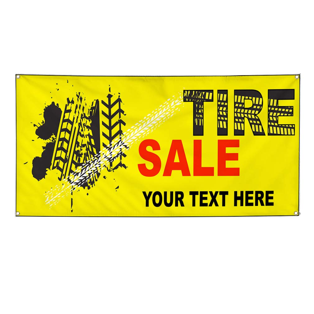 Custom Industrial Vinyl Banner Multiple Sizes Tire Sale Style D Personalized Text Here Automotive Outdoor Weatherproof Yard Signs Yellow 8 Grommets 44x110Inches