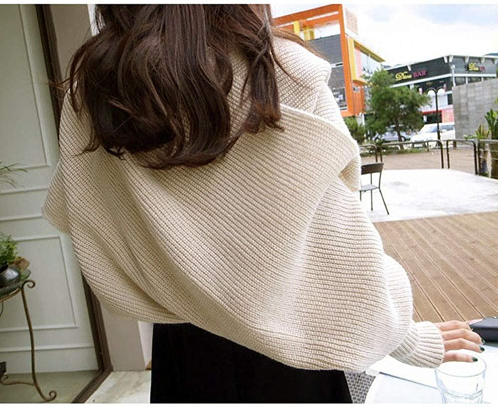 CHIDY Womens Winter Solid Warm Knitted Wool Scarf Long Sleeve Wrap Long Scarves Soft Shawl