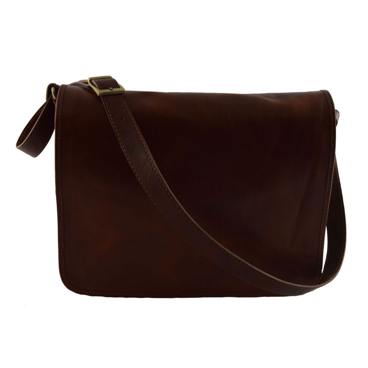 Made In Italy Genuine Leather Messenger Bag For Man 1 Compartment With Front Pocket Color Brown - Man Bag   B01CON7TU4