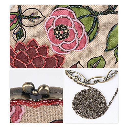 Linen Ya Women's Bag Handbag Beaded Clutch Evening Red Jin Flower Purse Vintage WrrqHnU