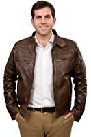 Dexter Mens Leather Jacket : Super Soft Mens Leather Jacket - Colours - Warm Brown and Classic Black