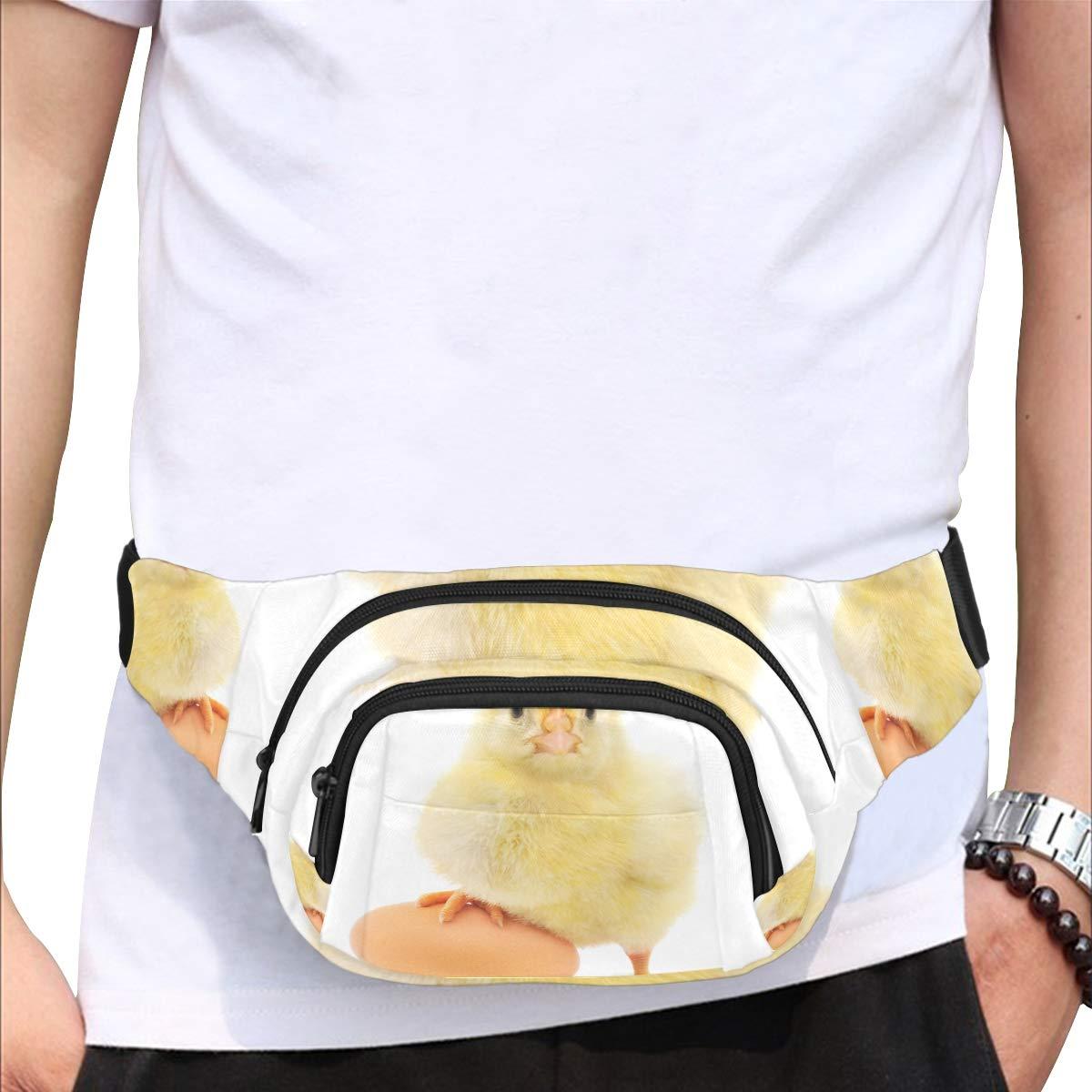Yellow Newborn Chick On Green Grass Fenny Packs Waist Bags Adjustable Belt Waterproof Nylon Travel Running Sport Vacation Party For Men Women Boys Girls Kids