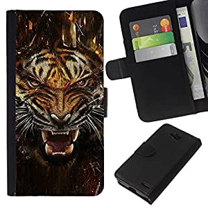 LECELL--Cuero de la tarjeta la carpeta del tirón Smartphone Slots Protección Holder For LG OPTIMUS L90 -- Fierce Agresivo Ataque Tigre --