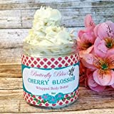 Cherry Blossom Whipped Body Butter, natural lotion, organic, 8oz jar, made with shea butter, mango butter, coconut oil, almond oil