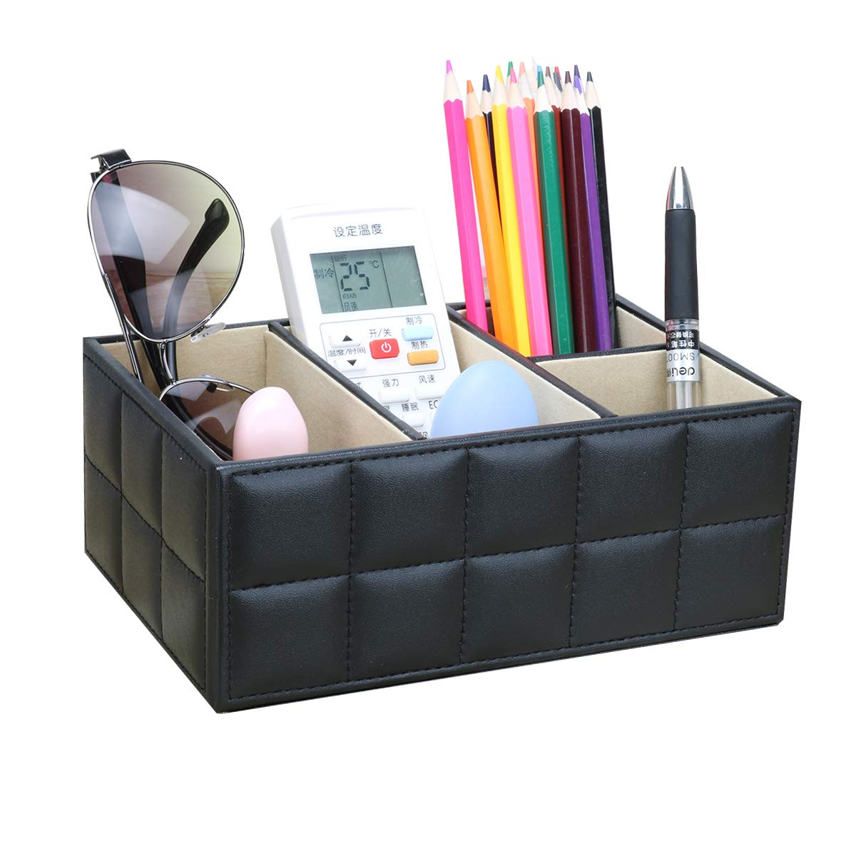 Office Supplies Desk Organizer - 4 Compartments for Pencil, Remote Control, Mobile Phone, Business Cards, Stapler, Cosmetics Holder Storage Box