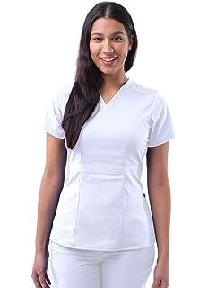 Purple 604 Adar Uniformes m/édicos para Mujer Casaca Sanitaria Frontal a presi/ón XXS