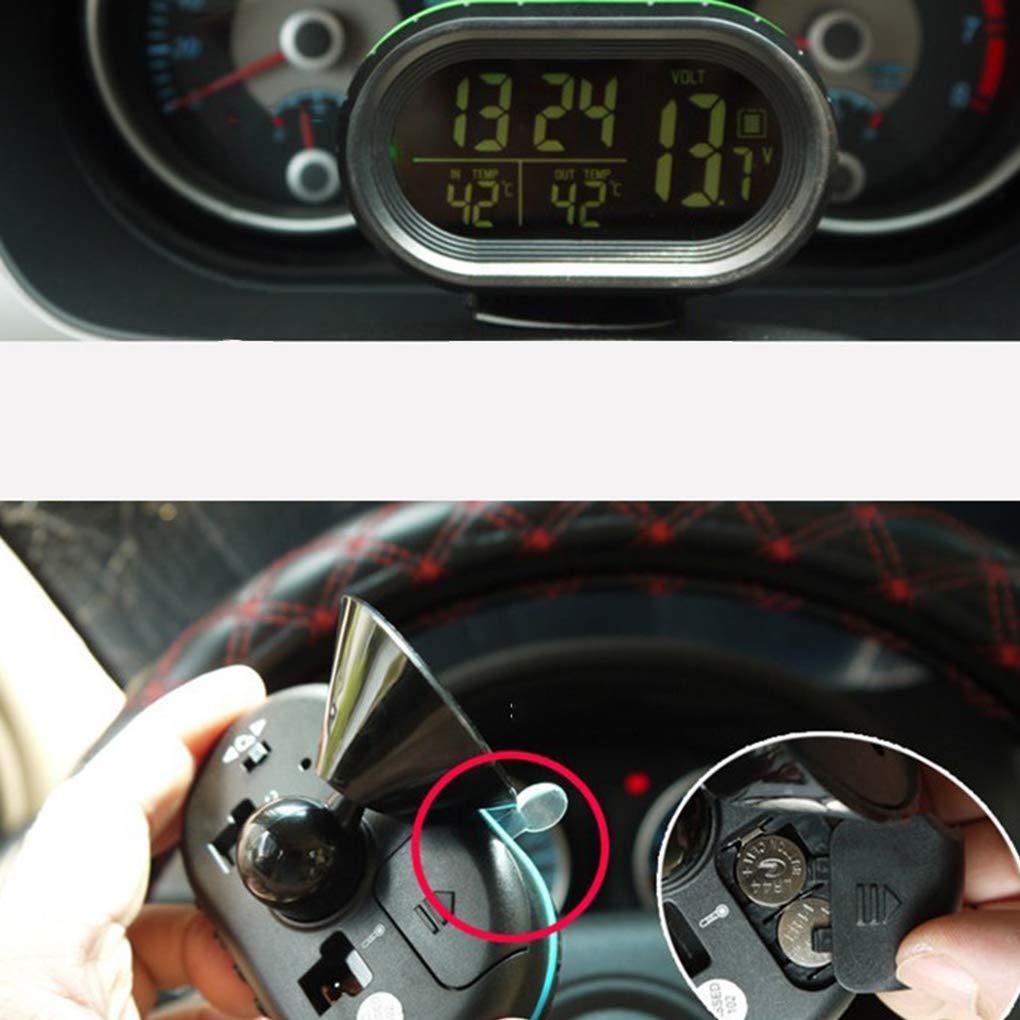 Morza Multi-Function Auto dellorologio di Temperatura del voltmetro Autoadesivo Auto Termometro Luminoso Orologio elettronico