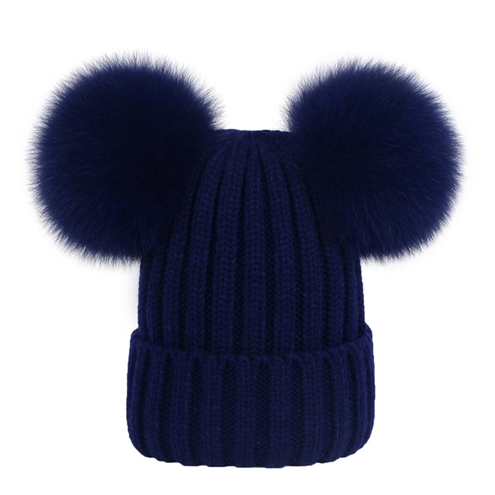 a602d2472bf Women s Knitted Double Real Fox Fur Pom Pom Hats Beanie Warm Winter Knit  Ski Snowboard Cap (Navy Blue) at Amazon Women s Clothing store