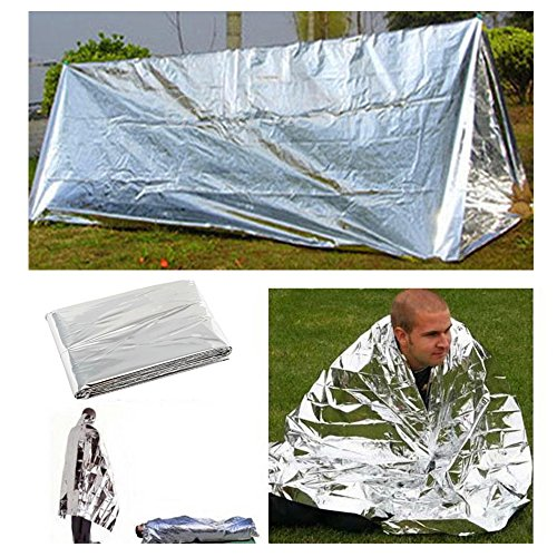 Youzee Emergency Survival Mylar Thermal Reflective Cold Weather Shelter Tube Tent Blanket And Sleeping Bag Kit for Backpacking Camping Hiking Survival Gear or Rescue by Youzee
