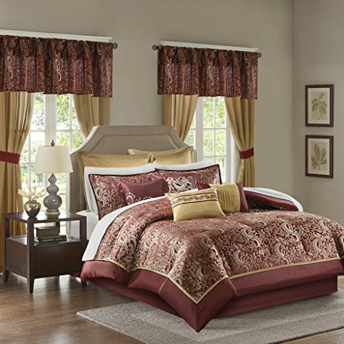 Madison Park Essentials Brystol Cal King Size Bed Comforter Set Room In A Bag - Red, Gold, Jacquard Embroidered Paisley – 24 Pieces Bedding Sets – Faux Silk Bedroom Comforters (Bedroom Panel Cal Set King)
