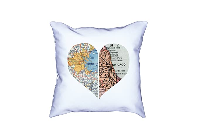 Amazon com: Custom Map Heart Pillow   State to State Map