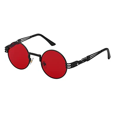 d986b36355 YANQIUYU Gothic John Lennon Metal Spring Frame Round Steampunk Sunglasses  retro shade Available (Black Frame