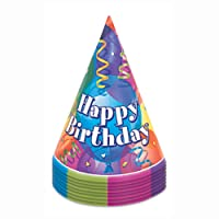 Brilliant Birthday Party Hats, Pack of 8